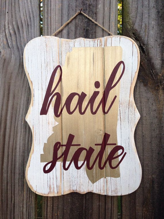 Hail State Art Sign Decor / Mississippi State Decor by MaroonLove