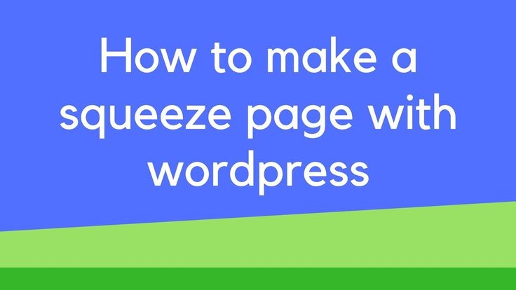 How to make a squeeze page with wordpress How to make a squeeze page with wordpress In this video I show you how to make a squeeze page for free. Show you how to style optimize and make your page look more professional. I provide bonus tips for better conversion rates and some basic design tips to make everything just look a lot more clean cut.   For the blog post: http://ift.tt/2DEUAXP  To sign up for MailChimp: http://ift.tt/2ndotU9  If you would like to follow me on social media…