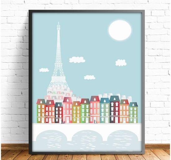 Paris, laminas decorativas,laminas ciudades,Torre Eiffel,Ilustracion Paris,cuadro Paris,ilustraciones digitales,4 TAMAÑOS INCLUIDOS
