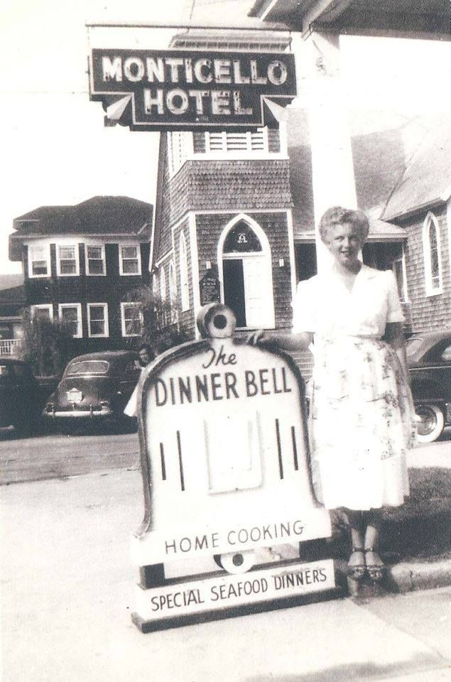 Vanishing Ocean City With Bunk Mann The Dinner Bell was a popular Ocean City restaurant in the years following World War II. Located on the southeast corner of 3rd Street and Baltimore Avenue in the Monticello Hotel, it served homestyle cooking with an Eastern Shore flavor.The waitresses lived in a dormitory style room at the Monticello and their room and board was part of their employment package. The Dinner Bell closed in the 1960s and the Monticello was torn down in 1999