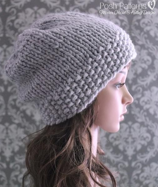 Knitting Pattern For Beanie With Flower : Knitting PATTERN - Chunky Knit Slouchy Hat Pattern ...