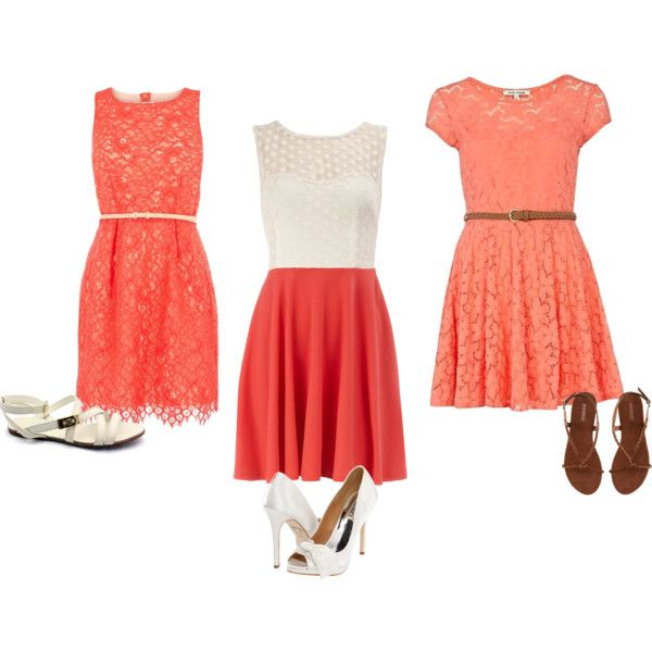 summer coral dresses: Summer Dresses, Summer Coral, Summer Outfit, Bridesmaid Dresses, Dresses Styles, Summer Color, The Dresses, Lace Dresses, Coral Dresses