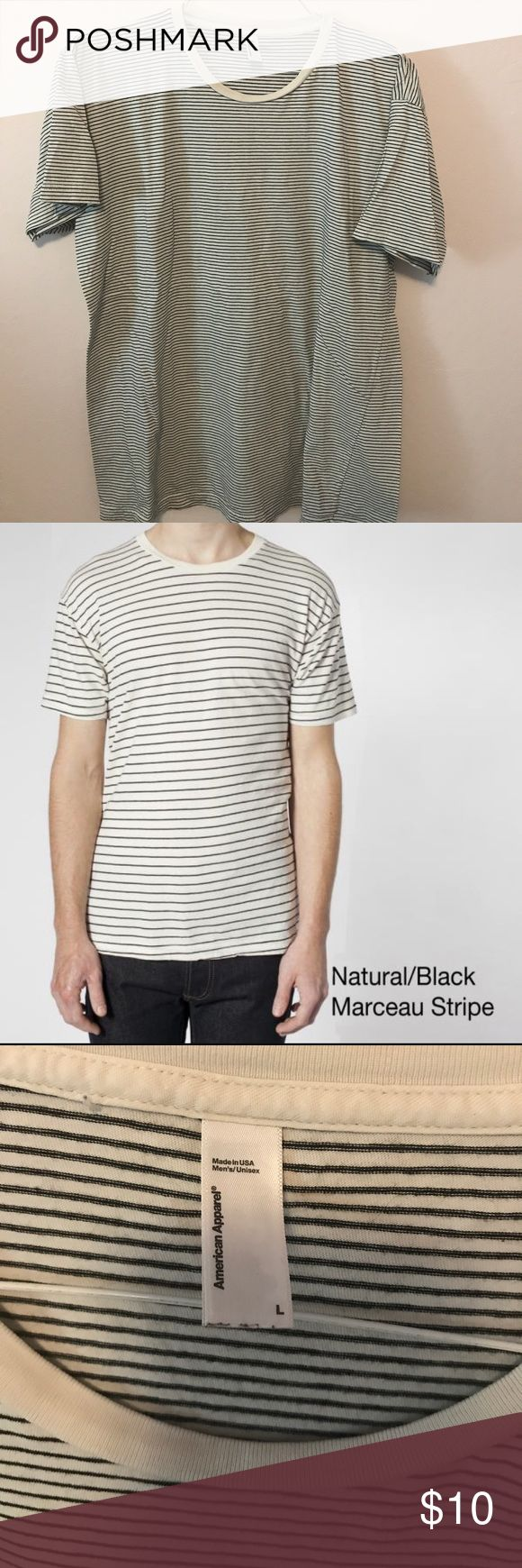 AA strip t-shirt Unisex/men's Large. Off white and black thin stripe tee by American Apparel. Stock photo is a little bigger stripe than the one I have as seen in the photos American Apparel Shirts Tees - Short Sleeve