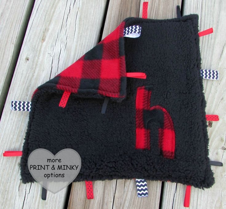 Personalized Tag Blanket, Baby Lovie, Lumberjack Buffalo Plaid, Sensory Toy, Baby Boy Shower Gift, Rustic Woods Nursery Decor, Black Red by LovePitterPatter on Etsy https://www.etsy.com/listing/252761622/personalized-tag-blanket-baby-lovie