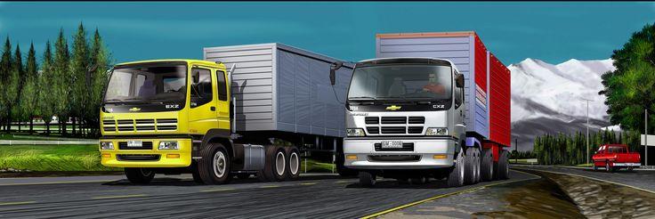 Camiones GM en paisaje zona central - Ilustración en Photoshop