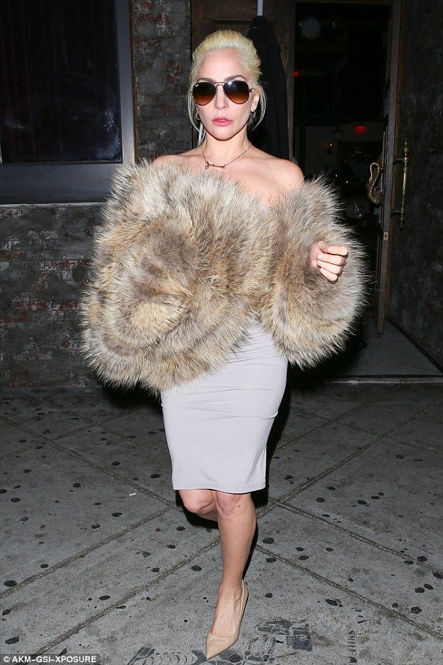 Fur-tastic: Lady Gaga keeps warm in giant fur coat at No Name Club on Tuesday night...
