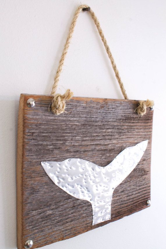 Whale Fluke Beach Sign Metal Tail on Distressed Wood by MangoSeed, $35.00