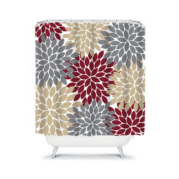 Dark Red Gray Tan Shower Curtain Flowers Custom Monogram