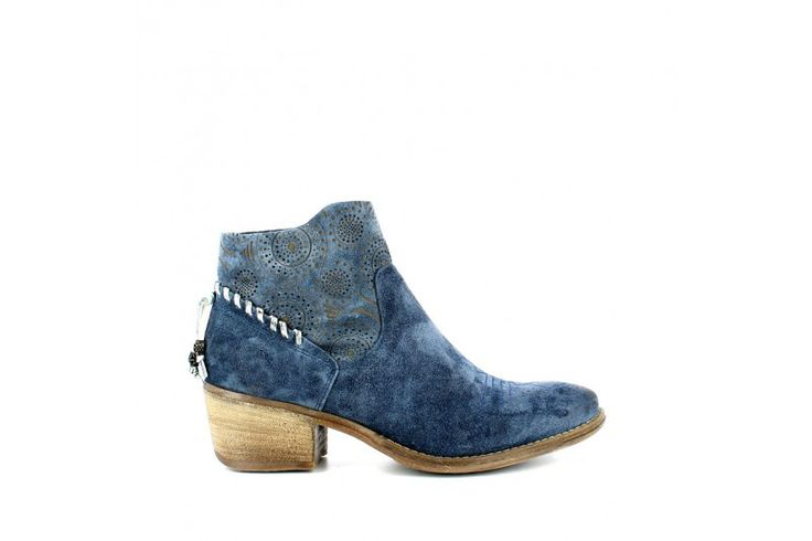 Saio Jeans   Half boot in real suede with laser patch, 4 cm heel high, rubber sole