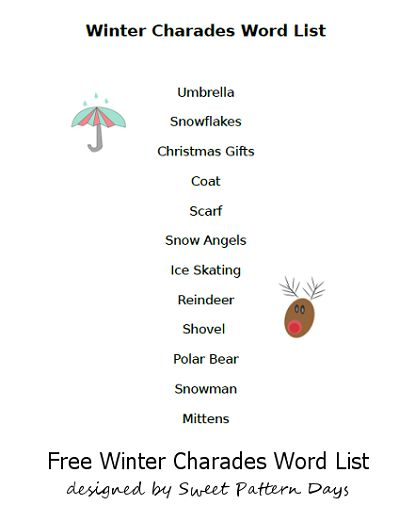 Winter Charades Game Word List