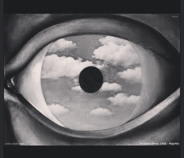 The false mirror rene magritte in black and white for Rene magritte le faux miroir