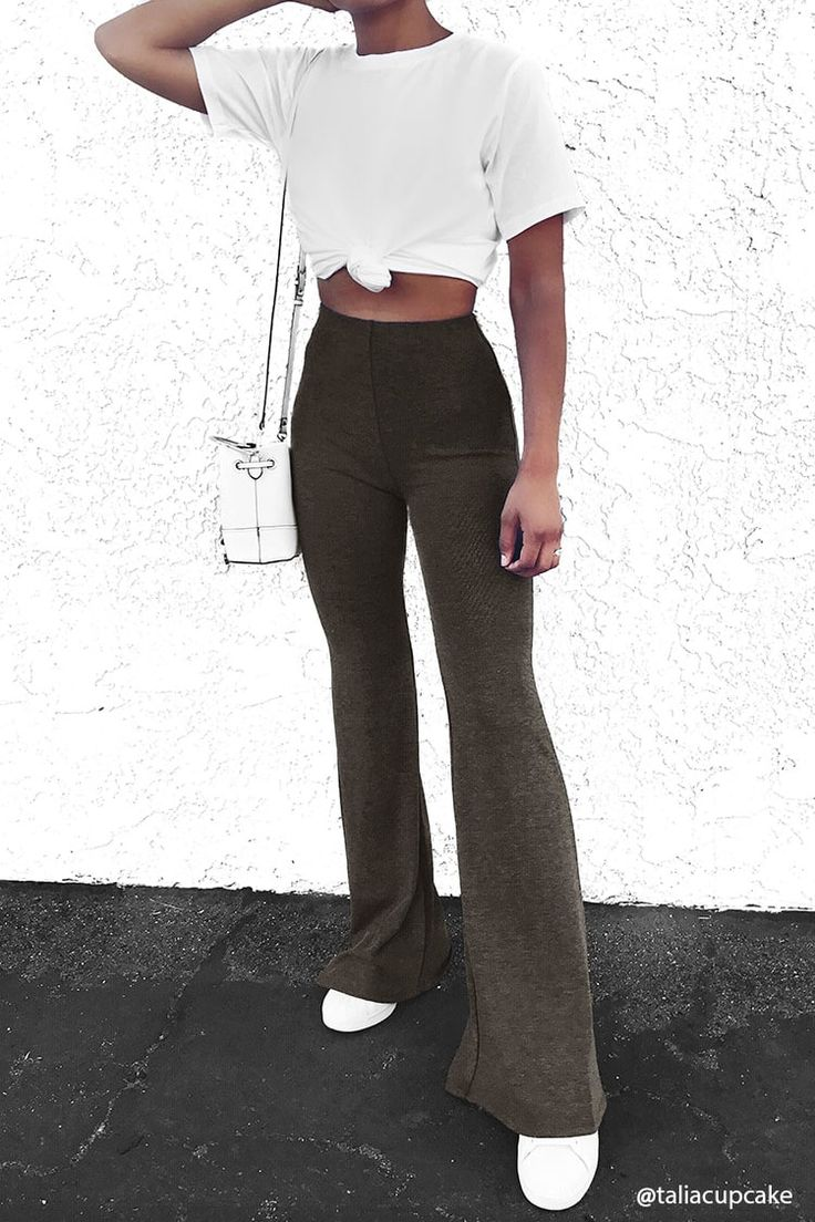 Heathered Knit Flared Pants - Trousers + Leggings - 2000216785 - Forever 21 EU English
