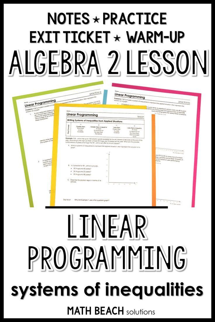 Linear Programming Lesson Algebra Lesson Plans Linear Programming Algebra Lessons