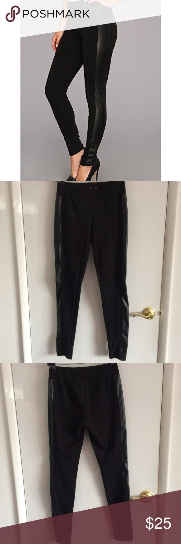 NWOT Kensie Pont Leggings with Faux Leather Trim Bought at Lord and Taylor. Only tried on. Size small. Great for stepping up any outfit💅🏼 Kensie Pants Leggings