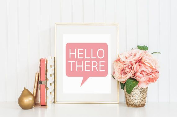 8x10 Hello There  Talking Bubble Instant Download by FloraAndFont