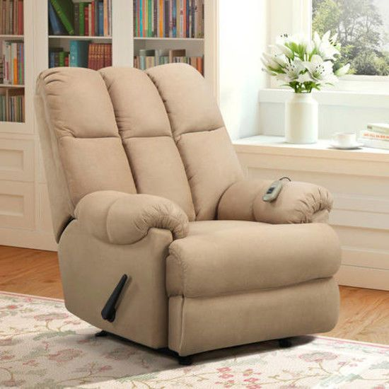 Microfiber Massage Chair Recliner Padded Dual Rocker Living Room Lazy Boy Club #DorelLiving