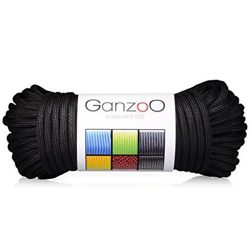 Paracorde 550, corde de survie à usages multiples et ultra-résistante, corde de parachute, corde gainée en nylon, longueur totale: 31m,…