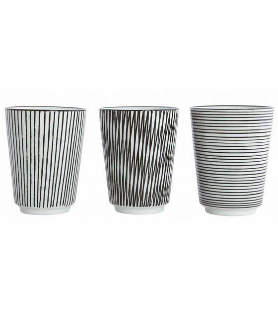 Housedoctor Mok 'Penstripe' zwart/wit porselein Ø8x10.5cm set van 6 met 3 patronen - lefliving.be