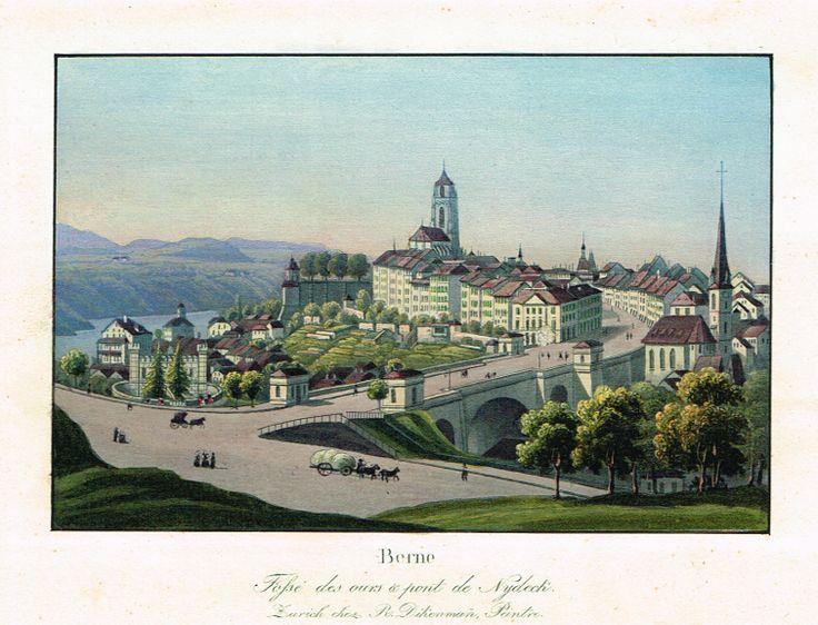 Berne - Fossé des ours & pont de Nydeck - Zurich chez R. Dikenmañ, Peintre - Aquatinte XIXème - MAS Estampes Anciennes - MAS Antique Prints