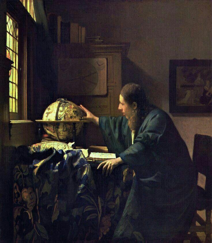 O Astrônomo - Vermeer, 1668 Veermer ilustrou um astrônomo verficando as constelações no seu globo de Jadocus Hondius, junto de um livro aberto e um instrumento de navegação/astronomia chamado astrolábio. Ao fundo também podemos ver uma carta de náutica da Europa de Willem Jansz e um quadro representando ao nascimento de Moisés (que fora supostamente iniciado na sabedoria Egípcia, o que significava em especial, a astonomia), uma pré figuração de Cristo.