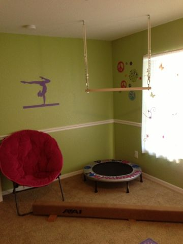 gymnastics bedroom ~ love it ~ I am a gymnast so it would be nice to practice but still be in my room