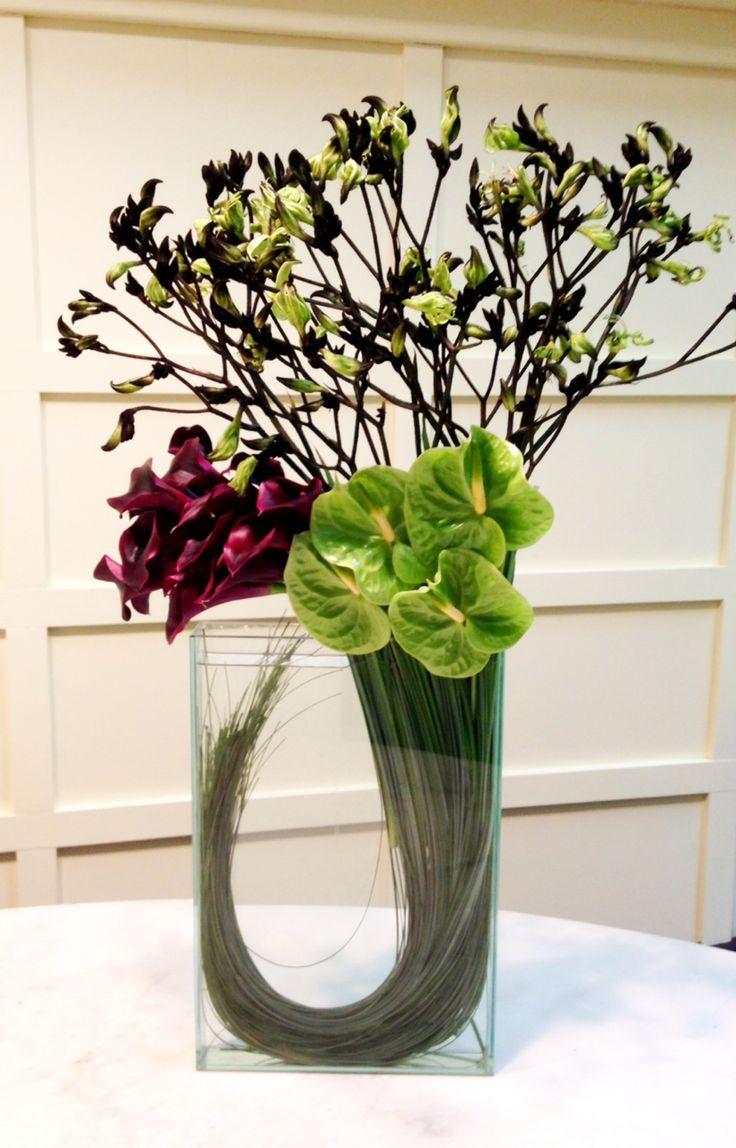 A modern arrangement for a winter wedding.
