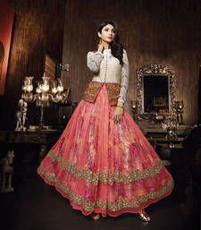 Buy Pink net embroidered semi stitched salwar with dupatta party-wear-salwar-kameez online