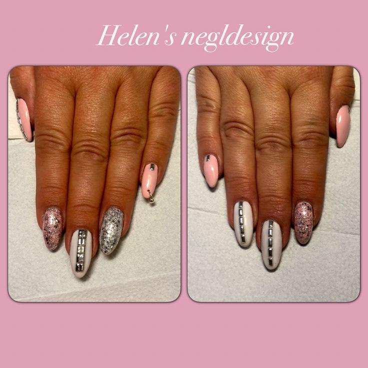 #nails#pink#glitter