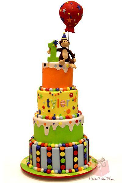 Tyler's First Birthday Monkey Cake from Pink Cake Box!