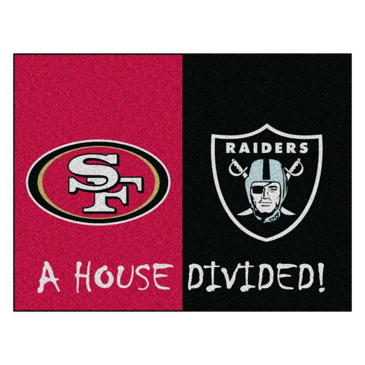 NFL 49ers / Raiders Red House Divided 2 ft. 10 in. x 3 ft. 9 in. Accent Rug, Red/Black