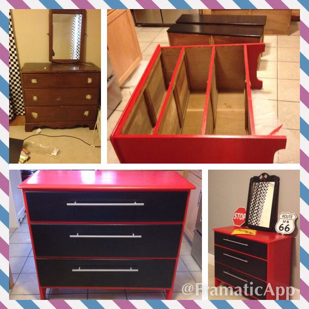 "Old dresser turned ""tool chest"" for our son Jake's new race car themed room."