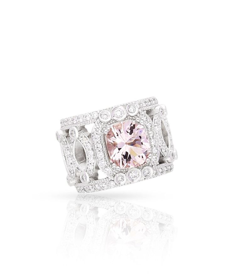 The Kayla Ring - 18ct white gold, diamonds and a Morganite centre stone will warm any heart this winter. - by Jenna Clifford