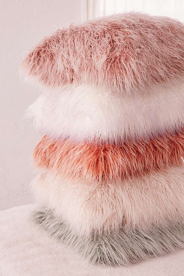 Slide View: 3: Marisa Tipped Faux Fur Pillow