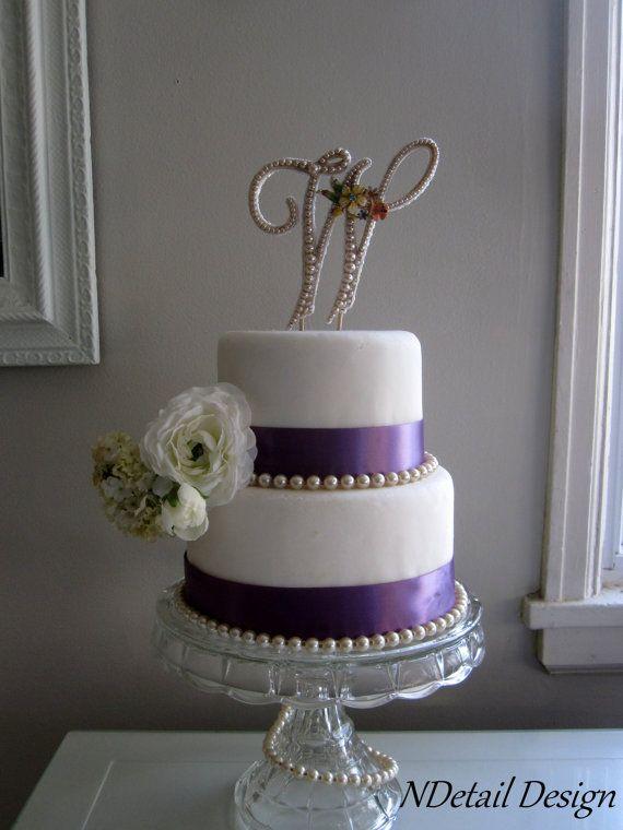 Wedding Cake Topper &a...W Monogram Wedding Cake Toppers