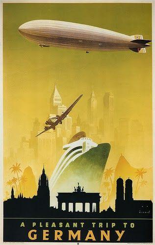 Vintage German travel poster. Zeppelin. Art Contrarian: Jupp Wiertz Poster Art