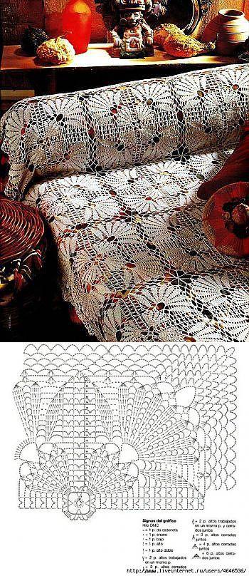 Crochet bedspread chart pattern
