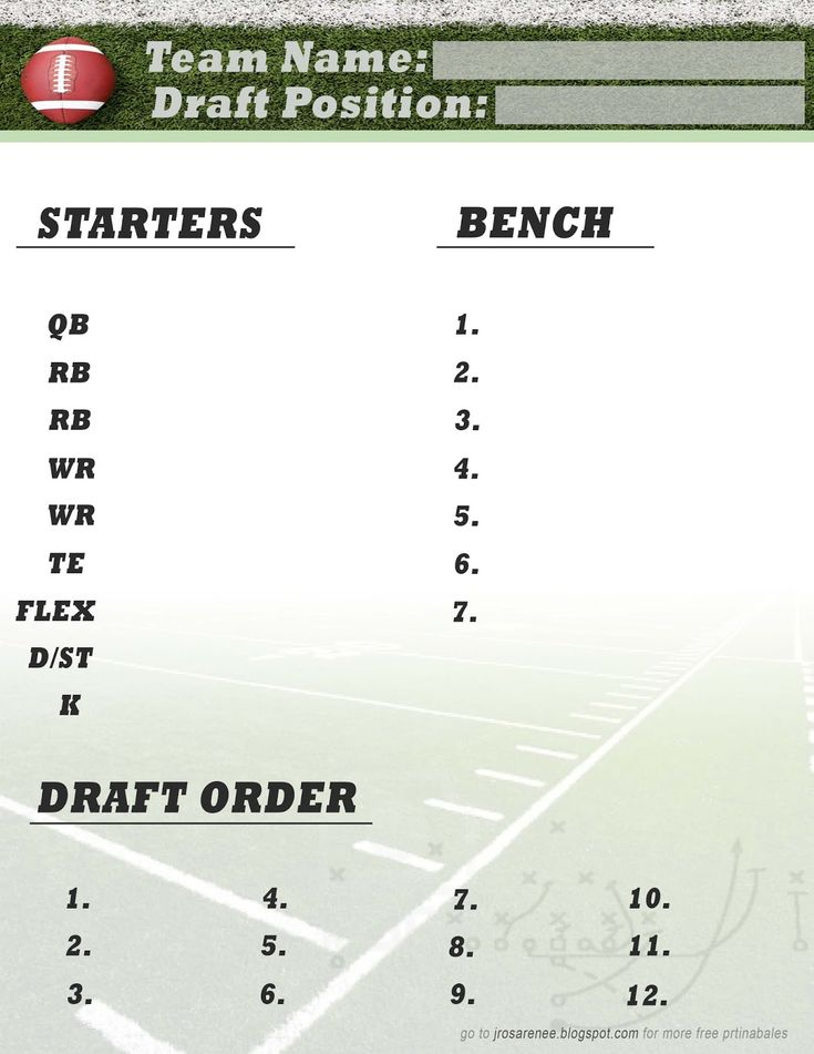 Freebie Friday, Fantasy Football Roster #free #printable