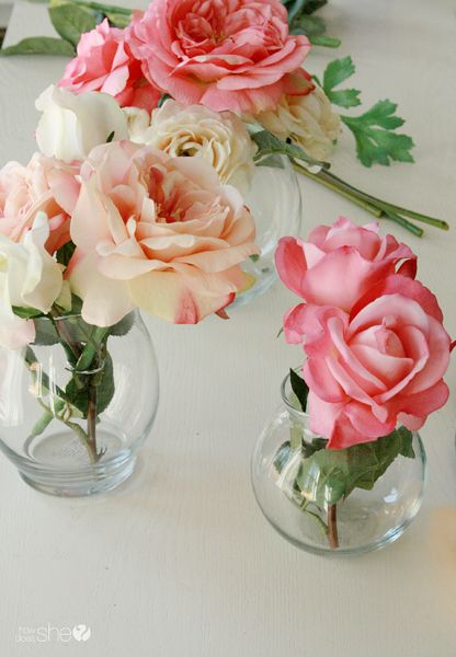 """Create """"Real-like"""" Silk Flower Arrangements with Clear Vases and Faux """"Water""""