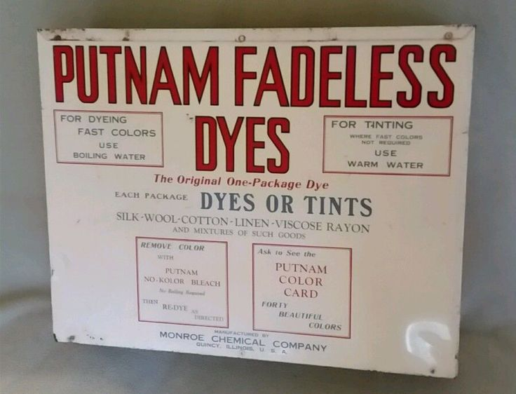 Putnam Fadeless Tint Dye Metal Store Display Good Houskeeping Monroe Chemical | Collectibles, Advertising, Merchandise & Memorabilia | eBay!