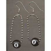 EIGHT-BALL CHAIN EARRINGS - Retro Pool Hall Lucky Jewelry - Get behind the 8-ball! http://team-zebra.com/8-BALL-EARRINGS-Retro-Pool-Billiards-Game-Lucky-Funky-Jewelry-TZ-00070.htm