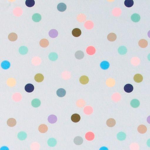 Baumwolle, Hellgrau, mehrfarbig gepunkte