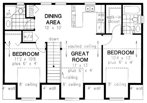 Second Floor Plan of Narrow Lot   Traditional   Garage Plan 58568