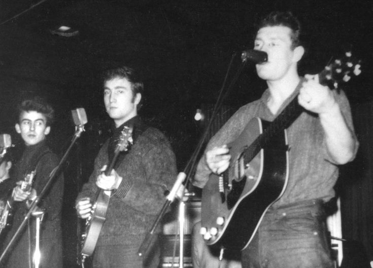 1960. Guitarist, singer, and songwriter Tony Sheridan (on the right) performs with the Beatles during their first Hamburg tour in 1960. The Beatles recorded 9 songs with Sheridan during their stay in Hamburg, primarily as a backup band. #TheBeatles #1960