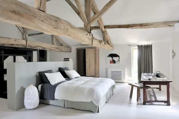 I think I would move the bed to the other wall...away from directly under that beam