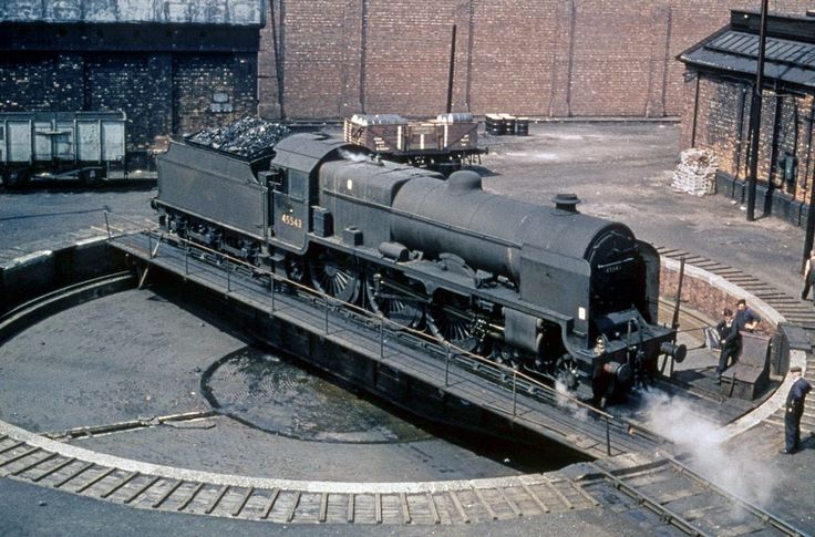 Steam engine number 45543 'Home Guard' turning at Patricroft shed.