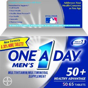 One A Day Men's 50+ Advantage Multivitamins, 65 Count by One-A-Day. Save 7 Off!. $9.17. Does not contain iron. Complete multivitamin formulated to support memory and concentration for men 50+. Supports heart health with vitamins B6, B12, C, E and folic acid for men 50+. One a day men's 50+ advantage is a complete multivitamin formulated for men over 50.