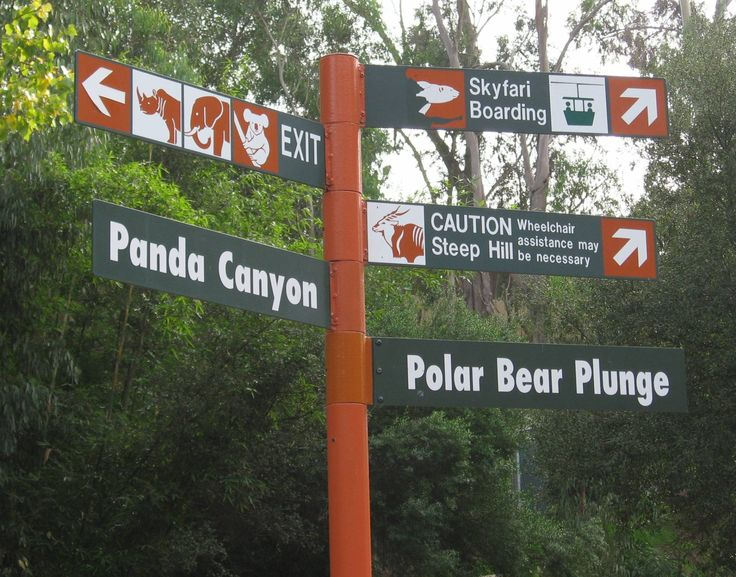 1.Exterior environment  3.http://www.passporter.com/photos/san-diego-zoo/p2134-san-diego-zoo-directional-sign.html 4. symbols and text together