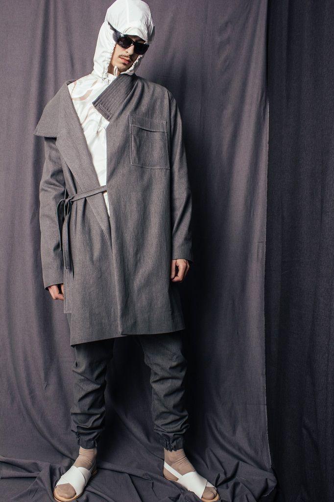 Constantine/Renakossy | rhéō 17 | menswear - WORKWEAR INSPIRED DENIM COAT / TRENCH-KIMONO HYBRID + CUFFED TRACK TROUSERS