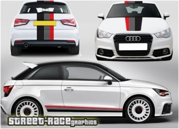 Audi A1 side, bonnet and rear racing stripes graphics