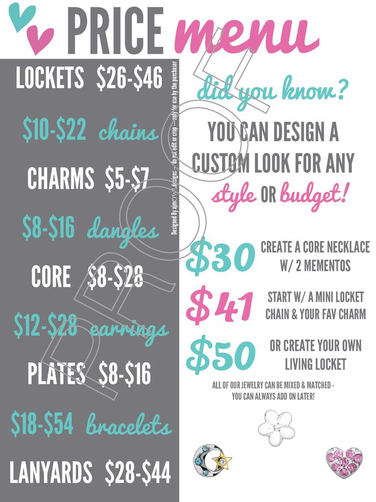 Price Menu: Easily show the price ranges of O2 items for online or in-home Jewelry Bars and vendor events! Includes budget ideas; $50 and under! - Origami Owl Inspired - Digital Graphic - printable - US or CAD Pricing - Virtual JBs